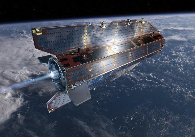 GOCE-satellitti tippuu Maahan. Satelliitin aurinkopaneelit toimivat osaittain myös siipinä, koska satelliitti kirsi Maata todella matalalla radalla. Kuva: ESA.