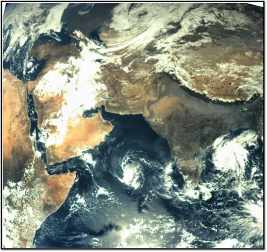 Mangalyaanin MCC-kameran (Mars Color Camera) ottama kuva Maasta marraskuun 19. päivä 2013 kello 13:50 (IST). Kuva on otettu 67975 km korkeudesta redoluution ollessa 3.53 km. Kuva: ISRO.