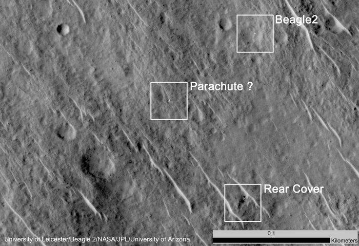 Beagle-2:n lämpökilpi, laskuvarjo ja itse laskeutuja yhdessä kuvassa. Kuva: University of Leicester/ Beagle 2/NASA/JPL/University of Arizona.